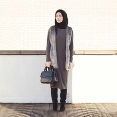 INAYAH | Long Ash #Jumper + Black Georgette #Hijab www.inayahcollection.com…