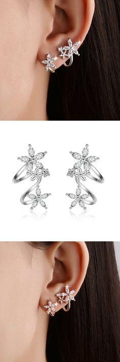Cute Ear Piercing Ideas for Teens - Crystal Flower Spiral Ear Climber Crawler Stud Earrings - cristal flor espiral oreja trepador crawler stud pendientes - www.MyBodiArt.com