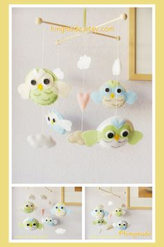 Modern Mobile - Baby Mobile - Owl Mobile - Baby Crib Mobile - Owls in blue green white and clouds nursery (U pick colors)