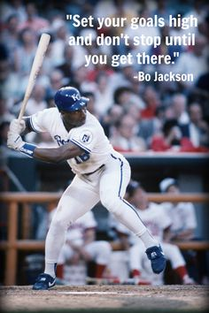 "#Motivation of the day. ""Set your goals high and don't stop until you get there."" -Bo Jackson #baseball #quotes"
