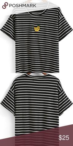 71bd60c2f5 Black Short Sleeve Striped Banana Print T-Shirt new without tag. Striped  Black Cotton