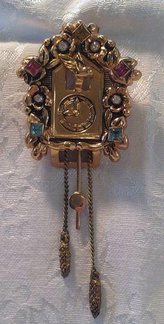 Vintage Pegasus Coro Gold Cuckoo Clock Fur Clip by 20thCenturyRose, $76.00