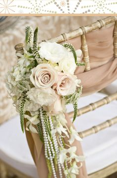 Roses & Dendrobium wedding chair... Wedding ideas for brides, grooms, parents & planners ... https://itunes.apple.com/us/app/the-gold-wedding-planner/id498112599?ls=1=8 … plus how to organise an entire wedding ♥ The Gold Wedding Planner iPhone App ♥