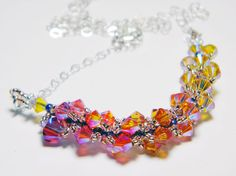 Phoenix Feather Swarovski Crystal Necklace Oiseaux de Feu by WhimsyBeading, $35.00