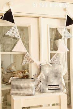 zestaw w kropki / B&W polka dot decoration set