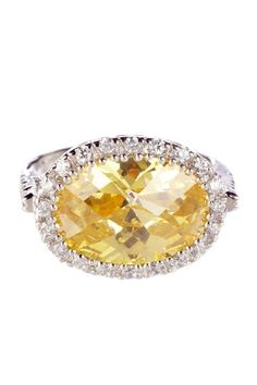 crystal cut side oval ring