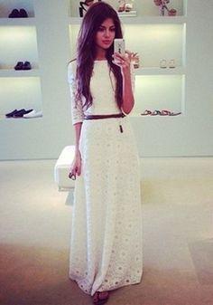Weiße gürtel SpitzeKleid MaxiKleid ballkleider abendkleid günstig lang  kleider hochzeitsgast 640890a1d7