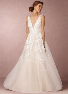 Wedding Dresses - $246.69 - A-Line/Princess V-neck Floor-Length Tulle Wedding Dress With Beading Appliques Lace Sequins (0025094152)