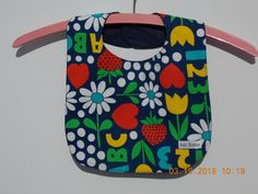 Vintage, retro 70's style with bright primary colors.  Cute, cute, cute.  ABC Easy As 123 BabyBib by MyPetitBisous on Etsy