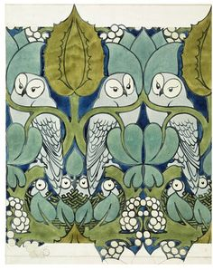 "Voysey ""Whoot"" owl wallpaper from the V and A—design inspiration for dresser."