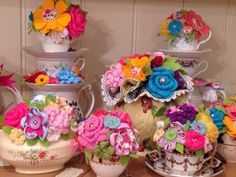 Fabric and crochet flowers in vintage china