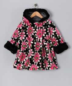 A traditional double-breasted silhouette and a bold floral print make this coat as classic as a black and white movie. A warm hood and hidden zipper are the final features that envelop little ones into this charming world of plush and posh style.63% acrylic / 30% polyester / 7% modacrylicMachine wash; hang dryMade in th...