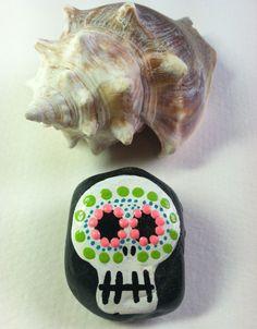 SUGAR SKULL MAGNET~Hand Painted Sugar Skull on a Rock~Fridge Magnet~Small Smooth Stone with Painted Skull~Original~Refrigerator Magnet by SallyStones on Etsy