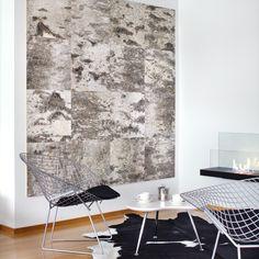 Finnish birch bark tiled wall piece...nice...and love the chair