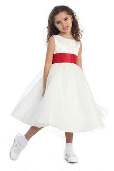 Satin Bodice Organza Flower Girl Dress with Red Sash G3211 $37.95 on www.GirlsDressLine.Com