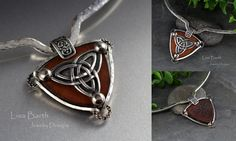 Here's a Celtic piece I made, it is a Triquetra, representing Father, Son and Holy Ghost.  I cut and dyed the leather too.  The centerpiece is hand made from fine silver.