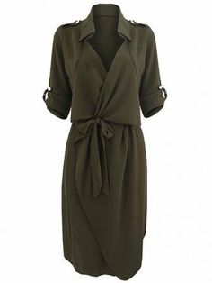 Bow Belt Work Casual Solid Color Lapel Women Shirt Dress at Banggood