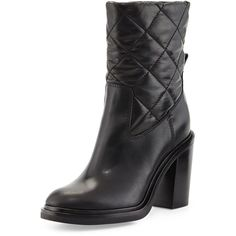 Moncler New Leonie Quilted Leather Boot ($1,000) ❤ liked on Polyvore featuring shoes, boots, black, moncler boots, slipon boots, black high heel shoes, black shoes and black slip on boots