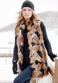 Copper Patch Fox Every-Wear Faux Fur Vest