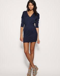 pretty pleat waist knitted dress.