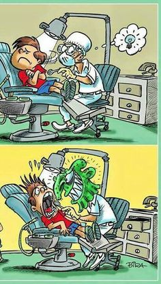 Funny Dentist cartoons. How to open your patient's mouth. Good idea #funny#progifts