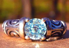 NEW Silver RING 6.2mm 1.3ct  Top Luster Sparkly Cambodian Starlight Blue ZIRCON #Handmade #Solitaire