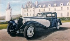 Original oil painting by Barrie Cann Bugatti Royale, pictured appropriately, outside a chateau in France #oil #painting #art #cars #bugatti #Barrie #Cann #barriecann