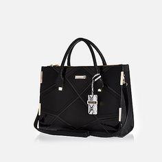 Black diamond patchwork tote handbag