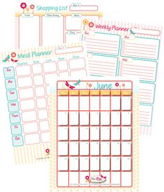 Home Management Printables for the month (includes June Calendar, Weekly Planner, Meal Planner, Shopping List)