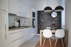 narrow kitchen & chalkboard decor