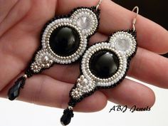 Earrings onyx and zirconium. €45.00, via Etsy.
