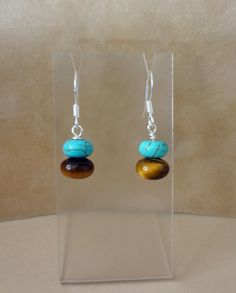 Tigers Eye and Magnesite Turquoise Earrings by TheBeadShack, $10.00