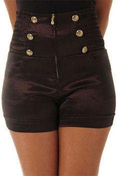 Taffeta Smocked High Waist Pin-Up Shorts