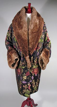~Vintage 1920s Jewel Tone Brocade Opera Coat with Fur Collar and Cuffs~