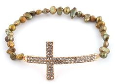 Ladies Gold Iced Out Cross with Green Fresh Water Pearls Shamballah Stretch Bracelet JOTW. $1.95. Great Quality Jewelry!. 100% Satisfaction Guaranteed!