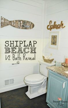 Need to refreshen up your bathroom? How about adding some texture to those walls with WOOD! We added shiplap to the wall, headboard the the ceiling and painted it ALL white. It's makes the shape so much larger. A new Kholer toliet, Star Beach Granite, industrial piping towel holder and toilet paper holder and Moen sink facuet.
