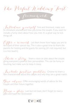 How to write a Best Man Speech or Maid of Honor Speech Tutorial www.evokedcblog.com/the-perfect-toast www.evokedc.com EVOKE DC Wedding Planner