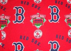 Fenway Park Red Sox cotton fabric red background, Fenway park material.
