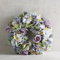 """Pier 1 Imports Faux Hydrangea 11"""" Mini Wreath ($20) ❤ liked on Polyvore featuring home, home decor, floral decor, blue, window wreaths, handmade home decor, blue wreath, hydrangea wreath and blue hydrangea wreath"""