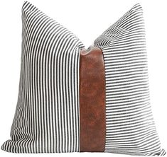 Amazon.com: Merrycolor Farmhouse Decorative Throw Pillow Covers for Couch Stripe Faux Leather Accent Pillow Cover Boho Modern Decor Pillow Case 18 x 18 Inch(Black): Home & Kitchen