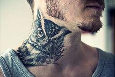 30 owl neck tattoo designs for men - bird ink ideas Tattoos Masculinas, Best Neck Tattoos, Body Art Tattoos, Bird Tattoos, Black Tattoos, Tatuajes Tattoos, Small Tattoos, Owl Neck Tattoo, Neck Tattoo For Guys