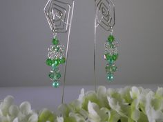 Mint Green Dangle Drop Earrings with Glass Pearls and Chinese Crystals on Sterling Silver Ear Wires