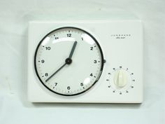 Germany c.1950s. Max Bill for Junghans A Ceramic ATO-MAT White Porcelain Kitchen Timer Clock, C Battery Powered, Fully Functional Clock and Timer. Very Good Vintage Condition.W: 9 x D: 2 x H: 5 in.$735