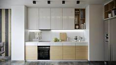 cuisine en blanc brillant et bois clair avec lambris déco bicolore