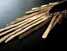 Metallic - Gold Fringe Necklace. $215.00, via Etsy.
