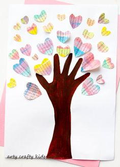 Arty Crafty Kids - Art - Valentines - Handprint Heart Valentine Tree -  An easy and fun Valentine's craft for kids, that's great for practicing cutting skills!
