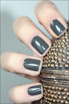 Love these gun metal grey nails for winter!  share and like any of our posts this month (must do both) to be entered to win a free Deluxe pedicure and 2nd place a free gel manicure. Drawing 12/1/14 #manicure #pedicure #nails #asheville