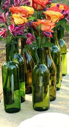 wine bottles turned into vases....