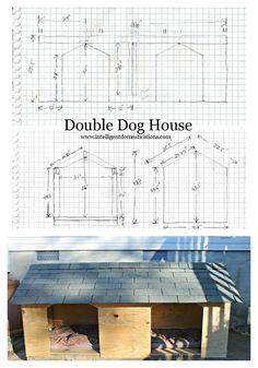 DIY Double Door Dog House Double Dog House Rough Plans and Finished Photo. Double Dog House, Big Dog House, Large Dog House Plans, Grande Niche, Pallet Dog House, Dog Yard, Cool Dog Houses, Niches, Outdoor Dog