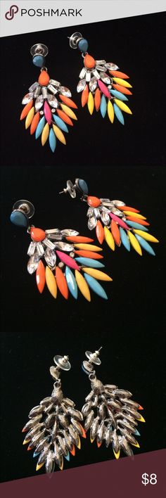 Colorful Statement Earrings Notice that there is a manufacturing issue on one of the Earrings a gem it not level and is covering another gem. Smoke free home. I discount bundles. Feel free to ask questions. Make an offer. Jewelry Earrings